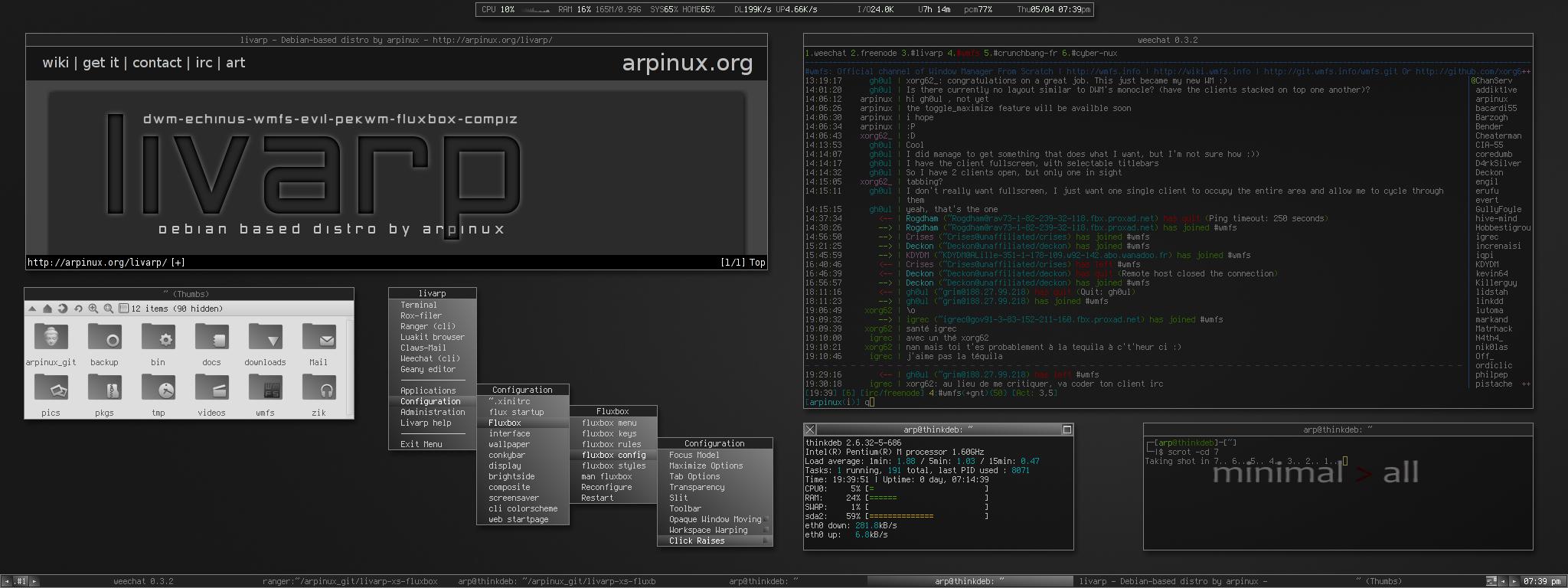 arpinux org : livarp screenshots